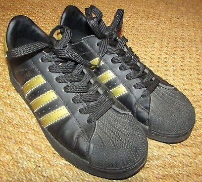 best service ab082 bb419 ADIDAS SUPERSTAR SNEAKERS Athletic Shoes Black/Gold Sz 6 #668760