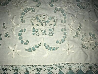 Antique/Vintage Embroidered Linen LACE Placemats WHITE Set of 10 plus 1