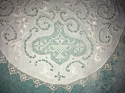 Antique/Vintage Embroidered Linen LACE Oval Placemats WHITE Set of 12