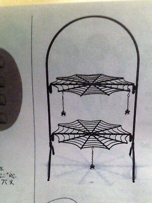"NEW~2-Tiered Spooky Halloween Spider Web Server /Tray/Rack ~17-1/4"" High Boxed"