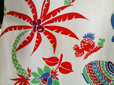 2 vintage Mexican icons mid century cotton fabric curtains drape panels cactus