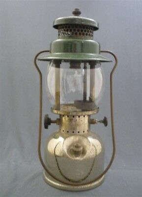 c1934 Green COLEMAN 242? Nickel Plated Camping Lantern Light Canada Tenting
