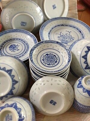 Chinese Blue Dishes/ Soup-Rice Bowl / Mustard Dishes/ Tea Cups.  31/pcs
