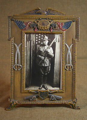 Patriotic 1917 Dated Frame and RPPC Photo of Determined-Looking US Soldier
