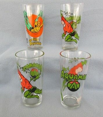 Vintage 1976-78 AQUAMAN GLASSES Pepsi Collector Super Series – Lot of 4