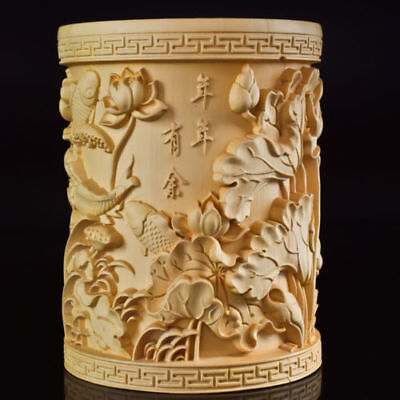 Chinese Boxwood Hand Carved Fish & Lotus Exquisite Brush Pot
