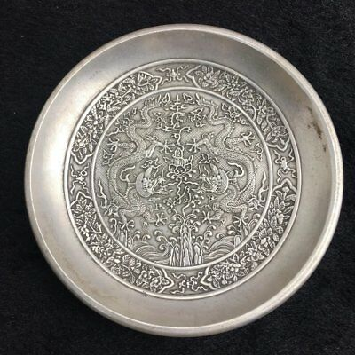 china old copper plating silver carving  Ssangyong play pearl plate  e01
