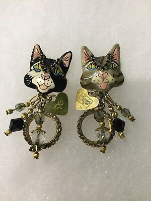 Lunch At The Ritz Puddy Cat Earrings Rhinestones Crystals Pierced with Card