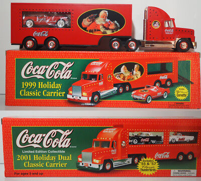 1999 2001 Coca Cola Limited Edition Holiday Classic Carrier Semi Lot of 2