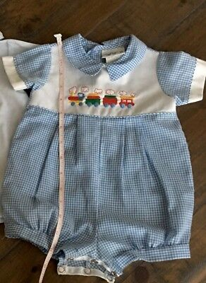 Vintage Alexis USA Romper Baby Boy Blue Gingham Train Outfit 3 Month Embroidered