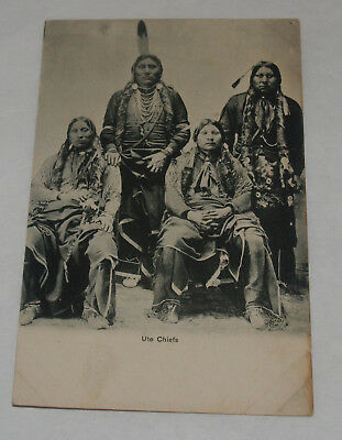 Antique Postcard Ute Chiefs Native American Indian Group Colorado News Company