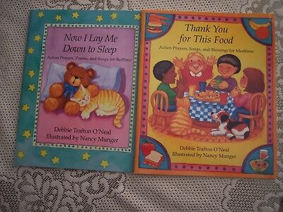 2 NEW Books, Each 32 Illustrated CHILDREN PRAYERS POEMS SONGS for Mealtime & Bed
