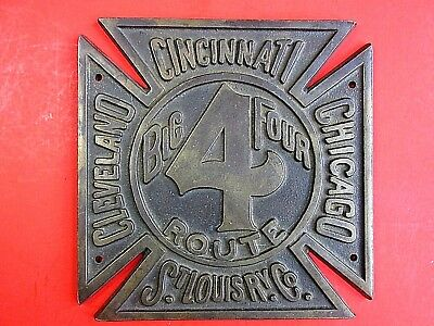 Antique Railroad Sign Plaque Big 4 Route Railroadiana Original Bronze Locomotive