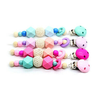 Wooden Soother Silicone Cute For Baby Teething Dummy Chew Pacifier Clip Chain