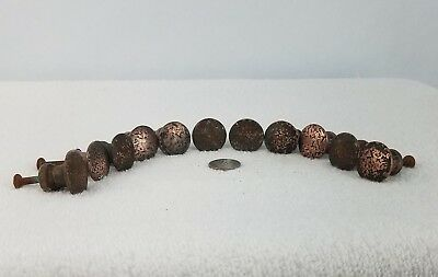 Vintage Brass Knobs Cabinet Handles Drawer Pulls Set of 11 Round Textured Screws