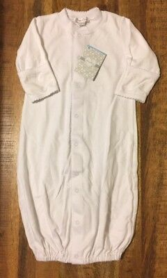 NWT Kissy Kissy Pima Cotton Infant Converter Gown or Romper, White, Size Small