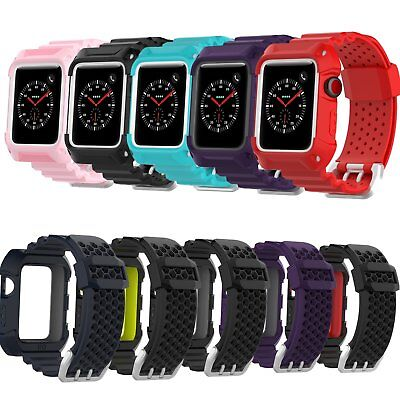 42mm/38mm TPE Wristband Strap Bracelet + Case Cover for Apple Watch Series 3 2 1