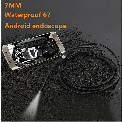 Waterproof 2M 7mm Endoscope Borescope Camera Auto Inspection For Android Phones