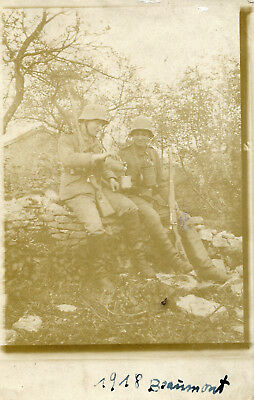 RPPC Photo of Two Amiable German Soldiers Taking Break ~ 1918