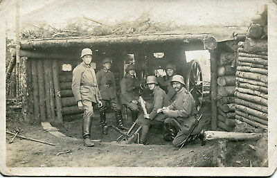 RPPC Photo of German 77mm Artillery Emplacement ~ Crew in Action