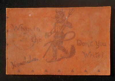 1900s LEATHER Why in the Hell Don't You Write? Devil Honolulu HI Postcard Hawaii