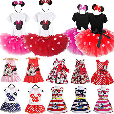 Toddler Kid Girl Minnie Mouse Princess Birthday Skirt Tutu Dress Outfit Costume