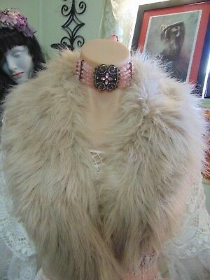 Stunning Luxurious Plush Vintage Champagne Faux Fur Stole French Shabby Chic