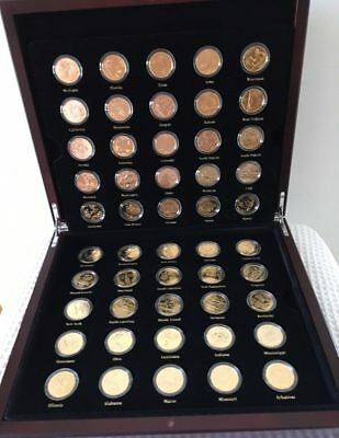 50 Coin BOXED SET OF 24k GOLD PLATED USA STATE QUARTER DOLLAR COINS