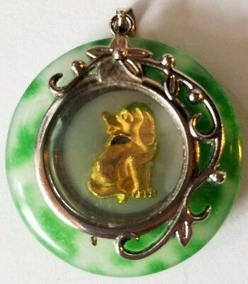Chinese Zodiac Horoscope Jade Animal Dog Charm Necklace Pendant