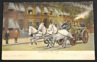Going to the Fire Horse Drawn Fire Engine Postcard PC Circa 1908