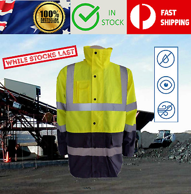 Hi Vis Safety Waterproof Lightweight Storm Jacket Reflective Tape Work Wear