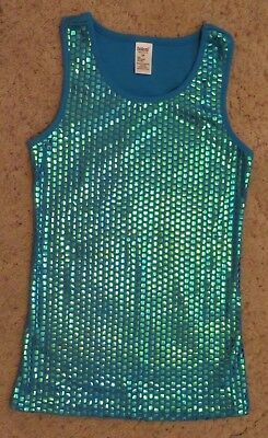 BALERA DANCE WEAR Women's Sequin Tank Top Turquoise Blue - Size Small Adult SA