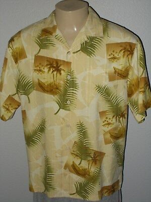 9c157967 Tommy Bahama 100% Silk Beige Aloha Tiki Lounge Hawaiian Camp Shirt Men  Medium
