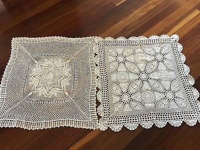 Two Vintage White Crochet Lace Small Tablecloths Use or Craft Wedding High Tea