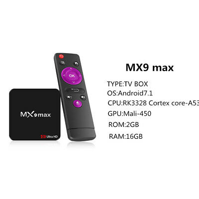 Hot Selling MX9 MAX Smart Android 7.1 TV BOX RK3328 2.4G Wifi 4K Media Player
