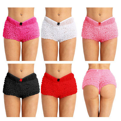 Women's Lace Ruffled Boxer Brief Ladies Knickers Underwear Panties Boxer Shorts