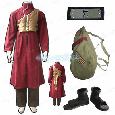Naruto Shippuden Sabaku Gaara Cosplay Costume Gourd Backpack Headband Shoes Men