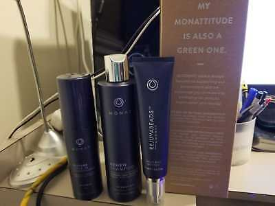 Monat R3 system, Restore Leave-In Conditioner, Renew Shampoo, REJUVABEADS