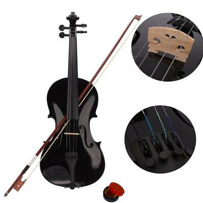 4/4 Full Size Acoustic Violin  Black with Case Bow Rosin 4Strings