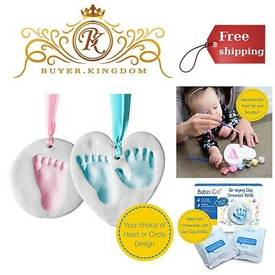 Bubzi Co Baby Handprint /& Footprint Clay Ornament Kit for Newborns /& Infants Pe
