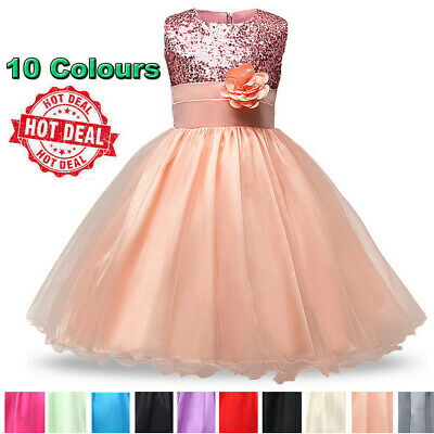 Kids Baby Flower Girls Party Sequins Dress Formal Bridesmaid Dresses Ages 6M-8Y