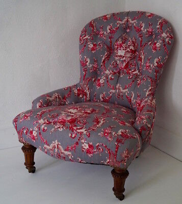 Antique Button Back Nursing Chair in 'STOF' Toile Linen Fabric