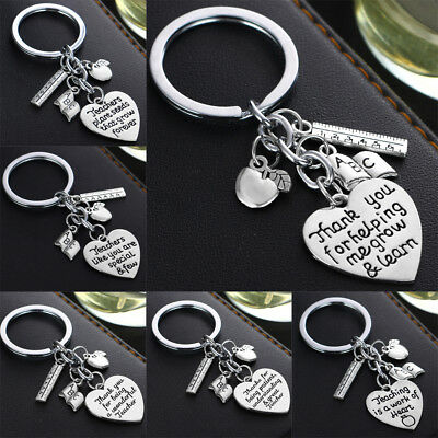 abc Books Ruler Apple Charm/Pendant Keychain Gift For Teacher Key Rings Chains