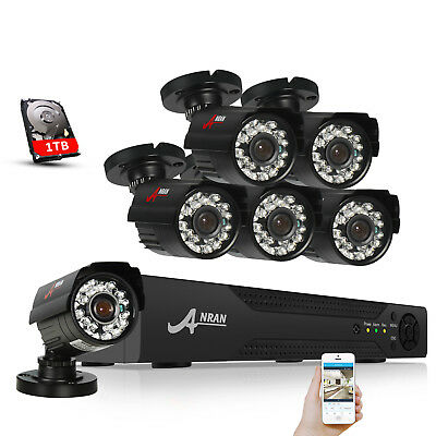 ANRAN 1080P 8CH Security Camera System Outdoor 2MP Surveillance DVR Recorder 1TB