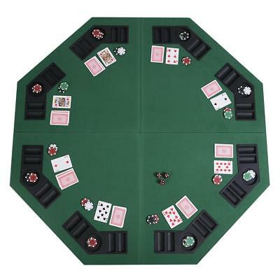 Folding Poker Table For 8 Players Casino Green Octagon Tabletop Play Card Game