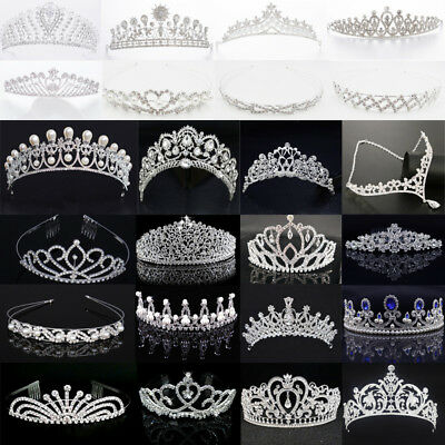 Bridesmaid Girls Rhinestone Hairband Pearl Sapphire Tiara Wedding Crown Headband