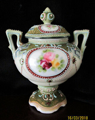 Antique Nippon Urn Vase   Floral / Moriage Detail   11.5cm or 4.5 inches High