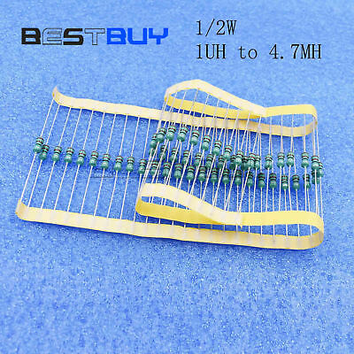 50PCS 1UH to 4.7MH 1/2W Axial RF Choke Coil 0410 Color Ring Inductance BBC