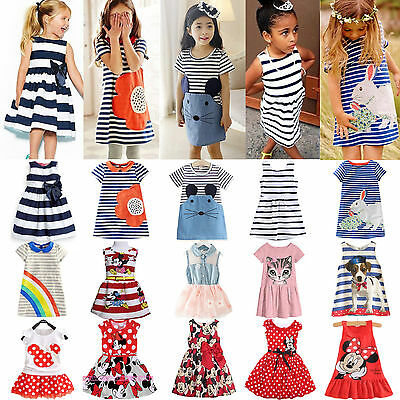 Kids Baby Girls Minnie Mouse Party Mini Dress Summer Stripe Casual Skirt Clothes