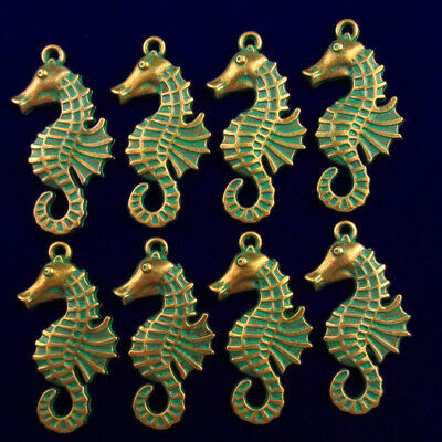 8Pcs Carved Brass Bronze Sea Horse Pendant Bead 37x18x2mm AG179